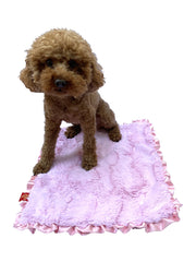 "NEW Carrier Square Ruffled Blanket 14""x17"", Bella Light Pink"