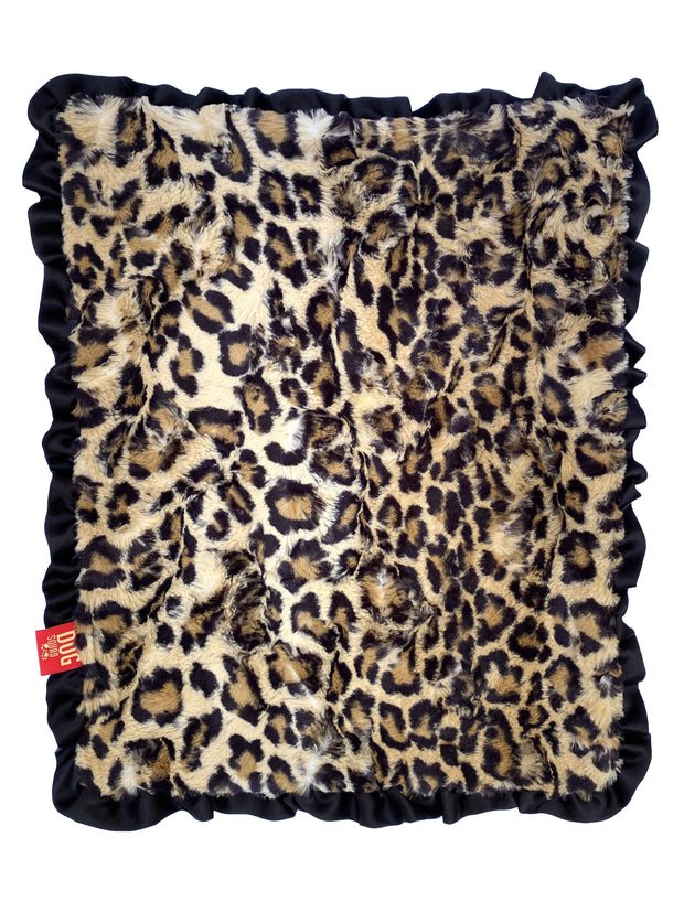 "NEW Carrier Square Ruffled Blanket 14""x17"", Leopard Sand"