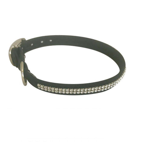 Glamour Girl Swarovski 2 Row Dog Collar, Black