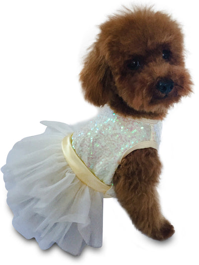Hollywood Hologram Tutu, Ivory Sequins