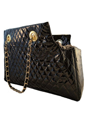 Kate Quilted Carrier, Black Patent