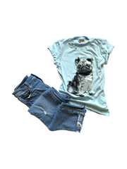 Lt. Blue Pug Women's T-Shirt