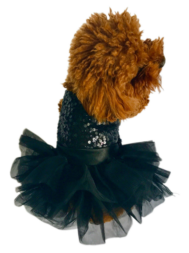 Marilyn Dog Tutu Dress, Black Sequins