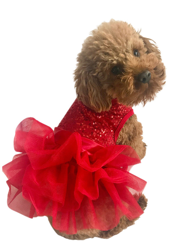 Picture Perfect Tutu Dress, Red Sequins