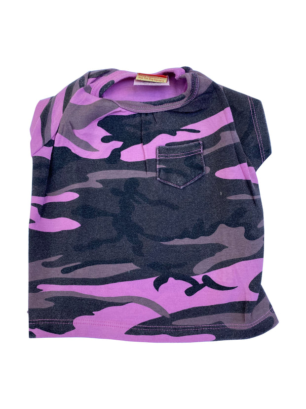 Pink Camo Tee with Pocket