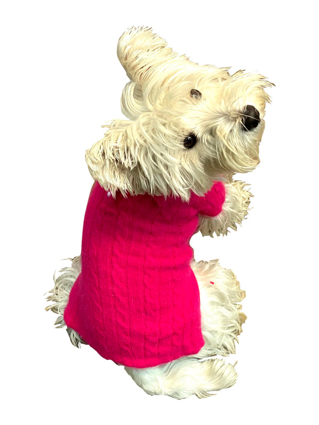Luxury Preppy Cable Polo Sweater, Fuchsia