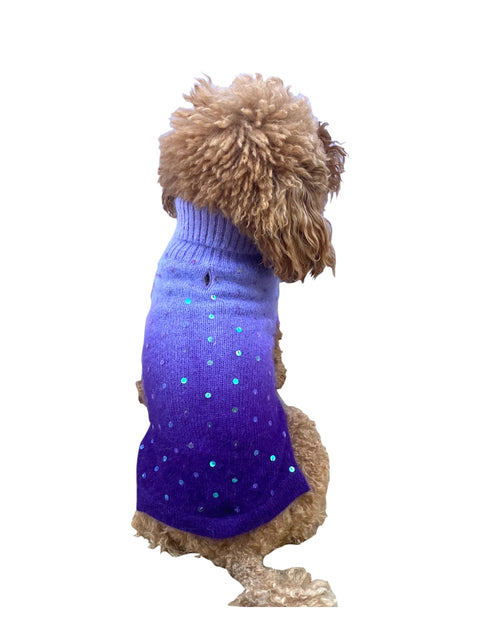 Luxury Beverly Hills Dip Dye Sweater in Purple (w/ sequins)