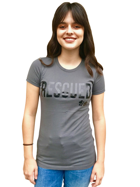 'RESCUED' Woman's Tee, Grey with Anthracite foil