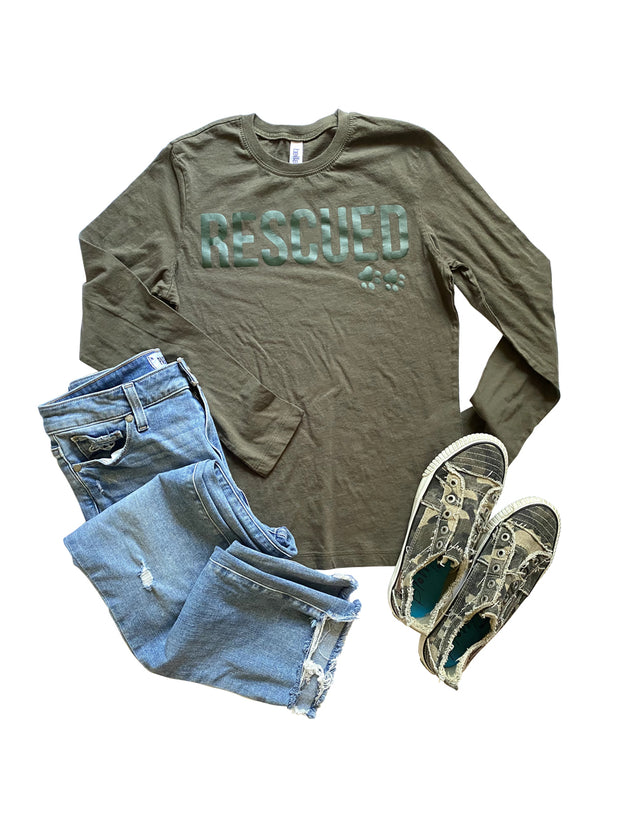 'RESCUED' Women's Long Sleeve Tee, Olive with green