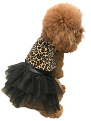 Retro Leopard Velvet Tutu Dress