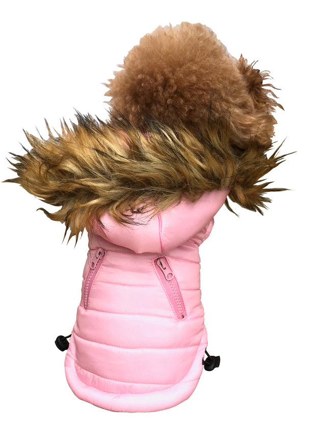 Ski Bunny Puffer with detachable hood, Pretty Pink