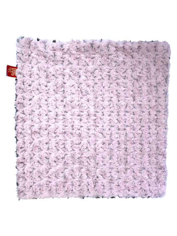 Carrier Square Blanket, Two Tone Rosebud in Pink/Grey