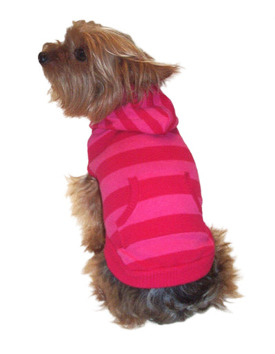 Kangaroo Striped Hoodie, Hot Pink
