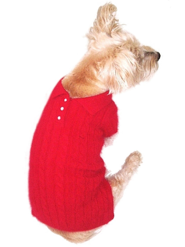Luxury Preppy Cable Polo Sweater, Red