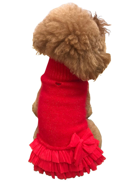 Frilly Tutu Sweater Dress, Red