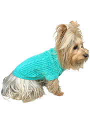 Scottish Cableknit Sweater, Light Turquoise