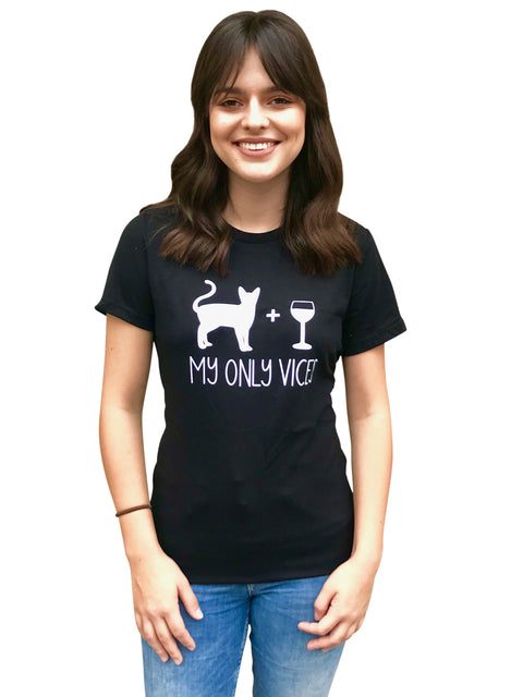 'My Only Vices' Wine and Cat Women's T-Shirt