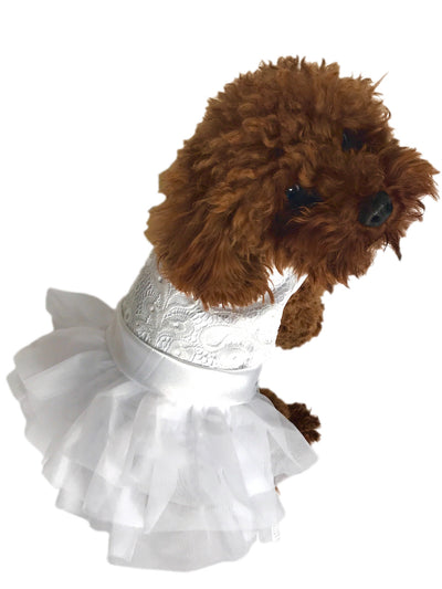 Paw of Honor Wedding Dog Dress, White