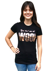 'You had me at WOOF' Women's Tee, Black with Rose Gold foil