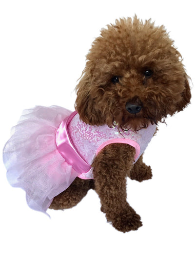Zsa Zsa Dog Tutu Dress, Pink Sequins