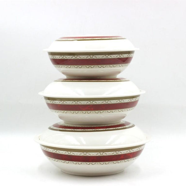3 Pcs Melamine Bowls with Lid Maroon Flower