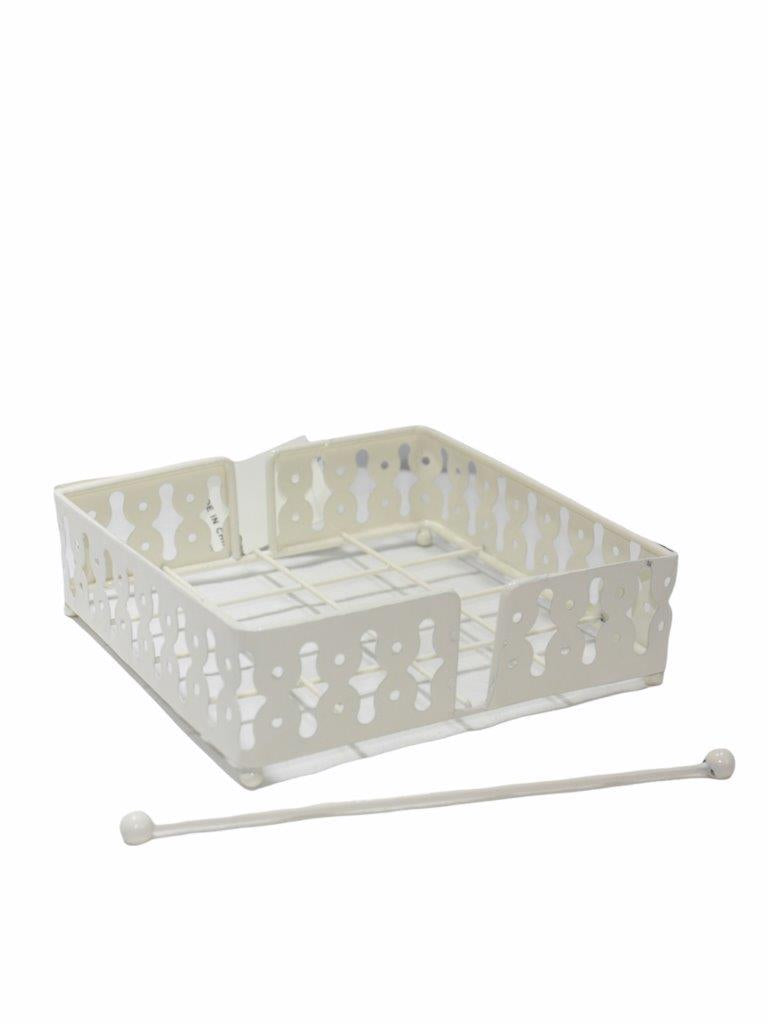 Napkin Holder Steel White Colour 18*18*6.5 cm