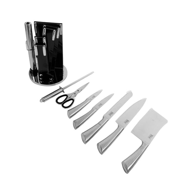 8 Pcs Stainless Steel Bass Knife Set Silver
