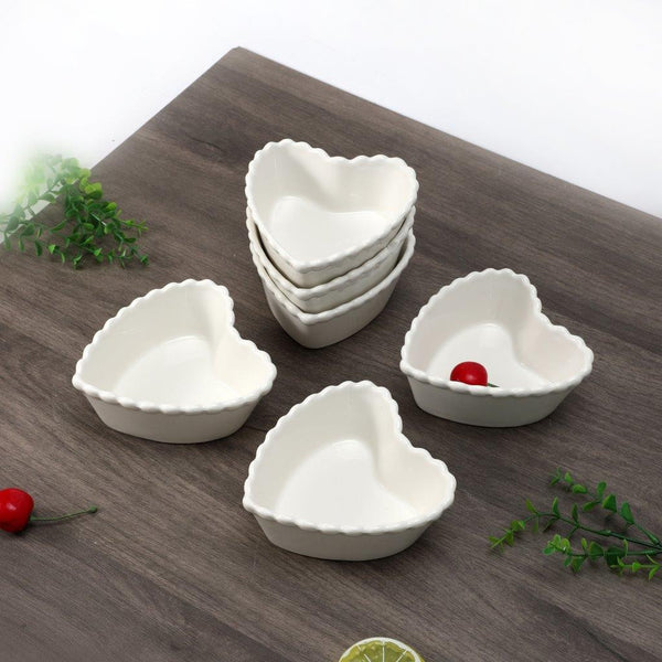 6Pcs 4.5Inch Dessert and Nuts Bowl Heart Shape