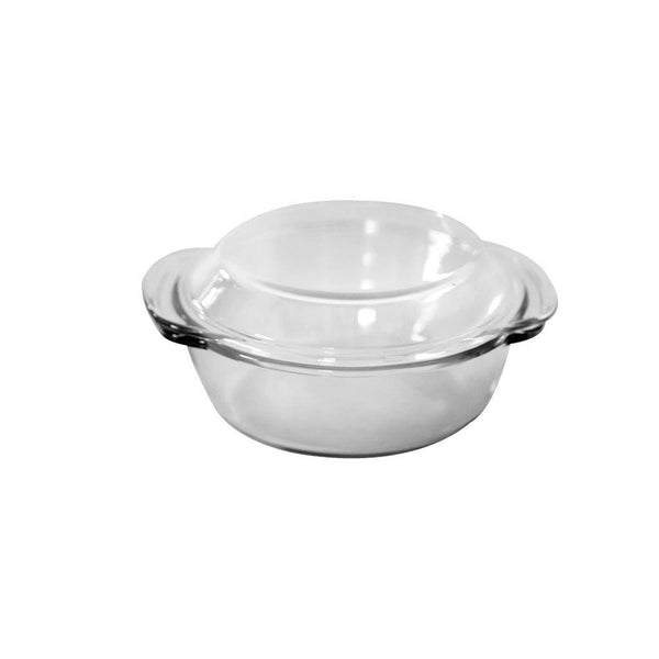 Round Heat Resistant Base Glass Baking Dish with Lid 0.7 Ltr