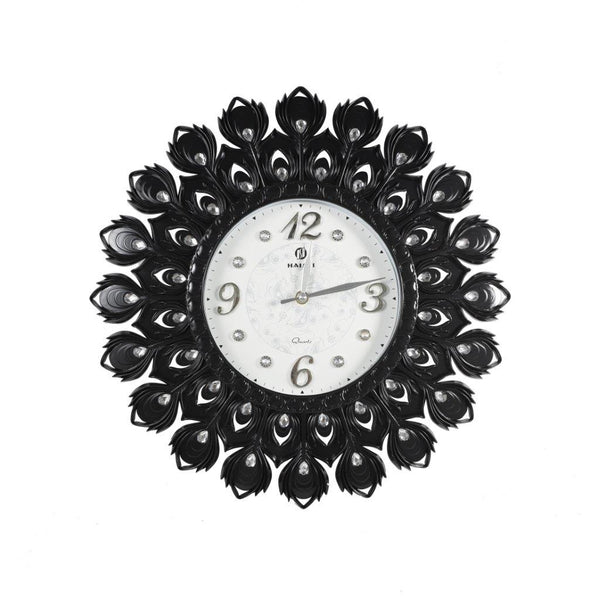 Wall Clock Black Peacock Feathers with Diamond 43cm