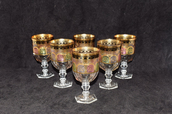 6 Pcs Golden / Coloured Glass Tumblers 200 ml