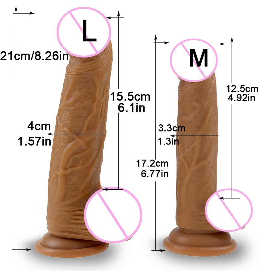 Realistic Skin Texture Dildo large and medium size comparison