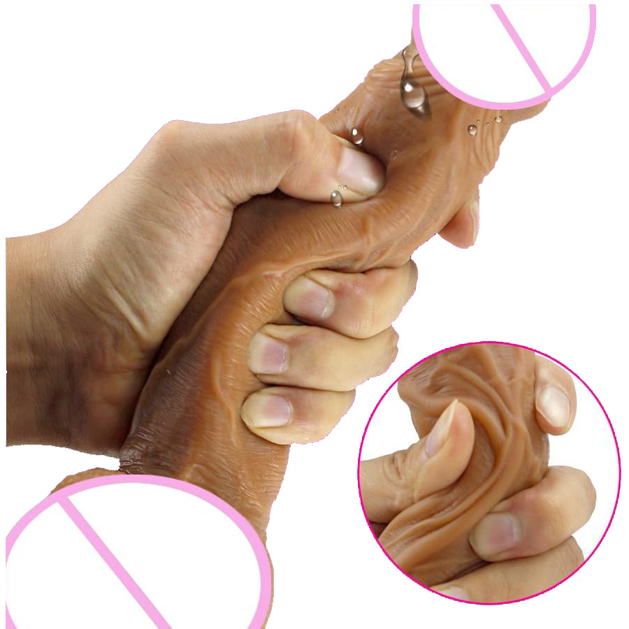 Realistic Skin Texture Dildo squeezing demonstration of softness