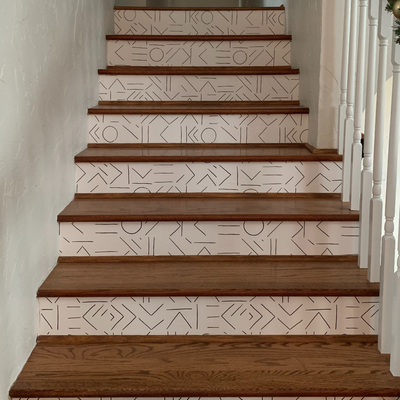 Peel and Stick Wallpaper Stair Riser Installation