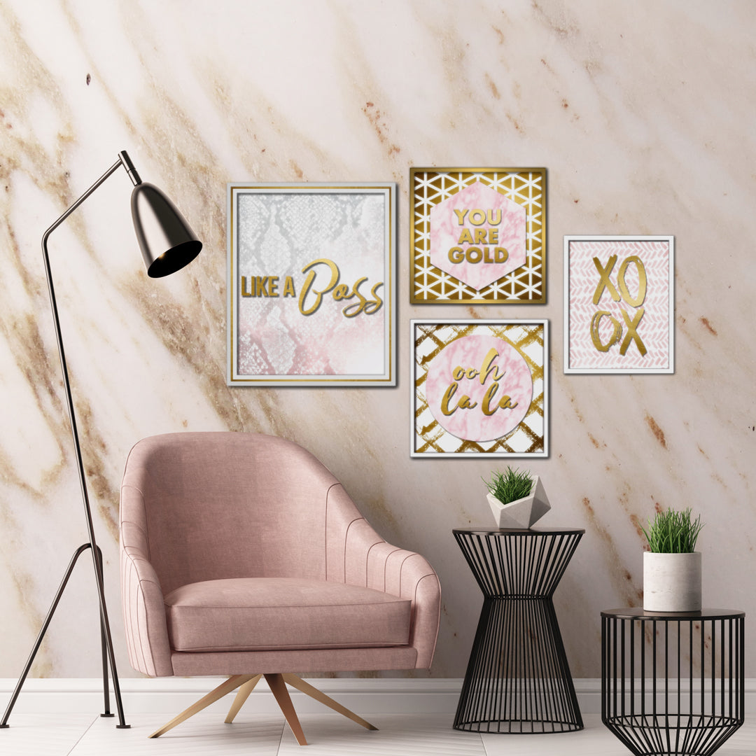 Create a Chic Millennial Pink Office With Blush Inspiration Wall Art