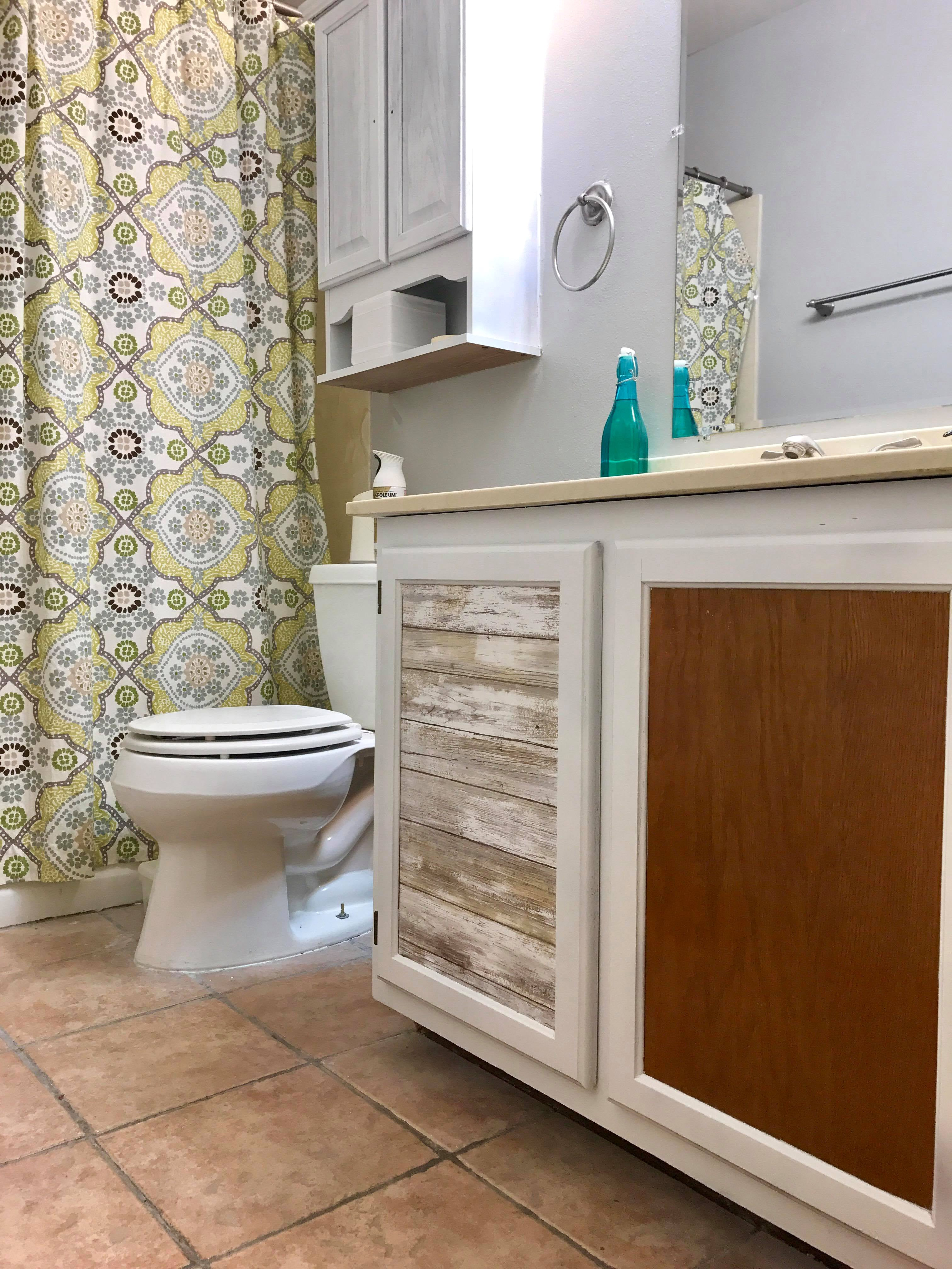 Bathroom Cabinet Update With Peel And Stick Wallpaper