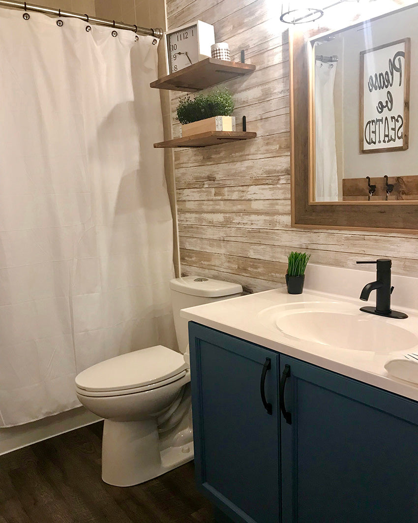 diy shiplap wall with peel and stick wallpaper