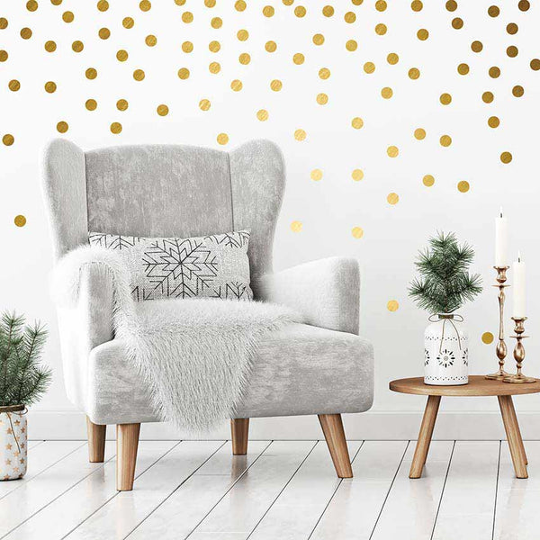 Gold Foil Confetti Dots Wall Decals