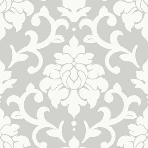 Grey Damask Peel And Stick Wallpaper