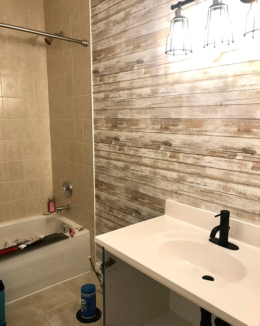 rustic bathroom update with peel and stick wallpaper
