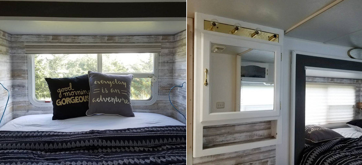 rv renovation with peel and stick wallpaper