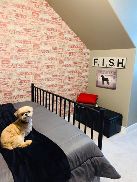 Boys Bedroom With Brick Peel And Stick Wallpaper Accent Wall