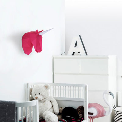 Small Unicorn Paper Animal Head Trophy roomset