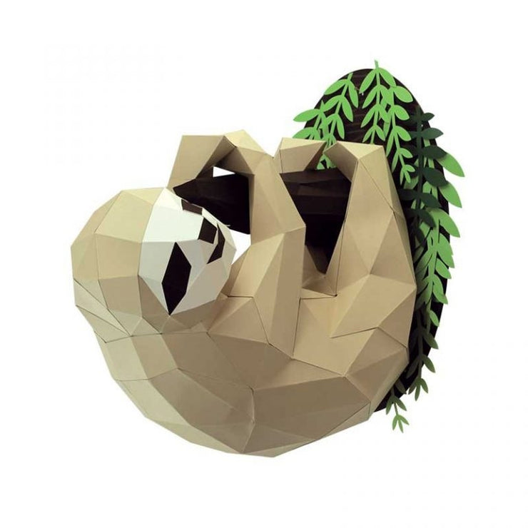 Sloth and Branch Paper Animal Head Trophy side