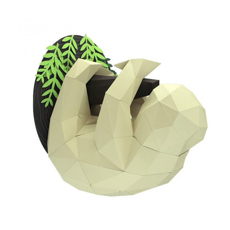 Sloth and Branch Paper Animal Head Trophy side 2