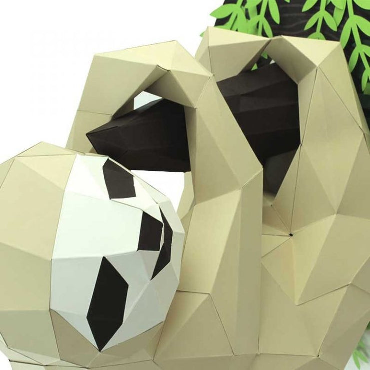 Sloth and Branch Paper Animal Head Trophy closeup