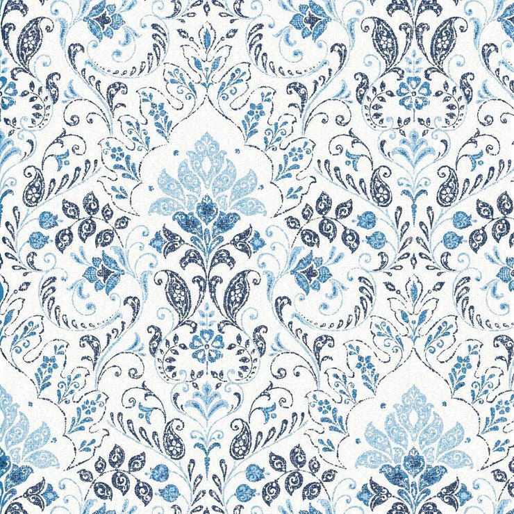 Persian Damask Peel and Stick Wallpaper blue
