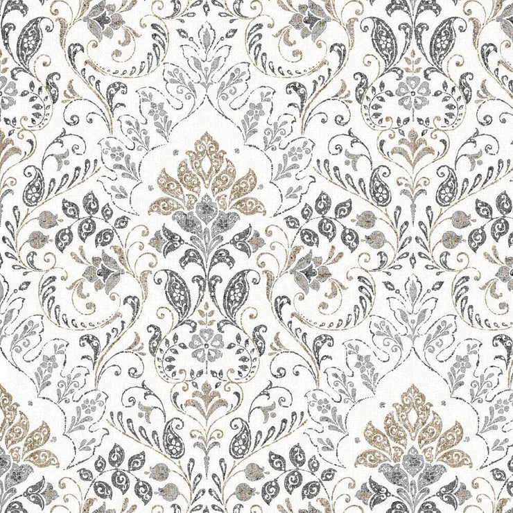 Persian Damask Peel and Stick Wallpaper gray