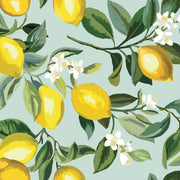 Lemon Zest Peel and Stick Wallpaper blue