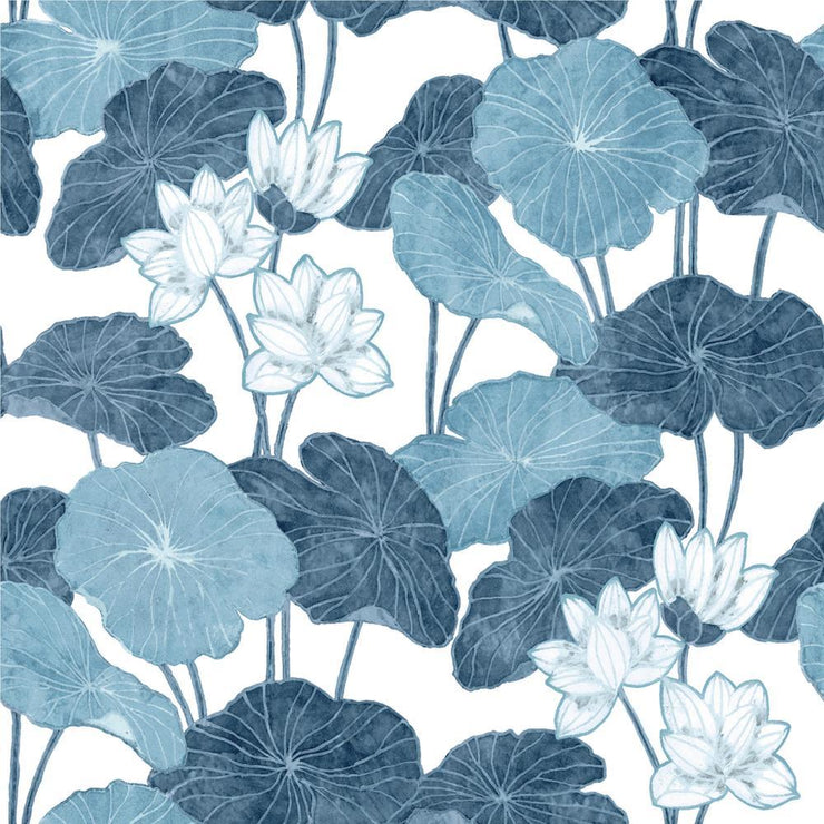 Lily Pad Peel and Stick Wallpaper blue white